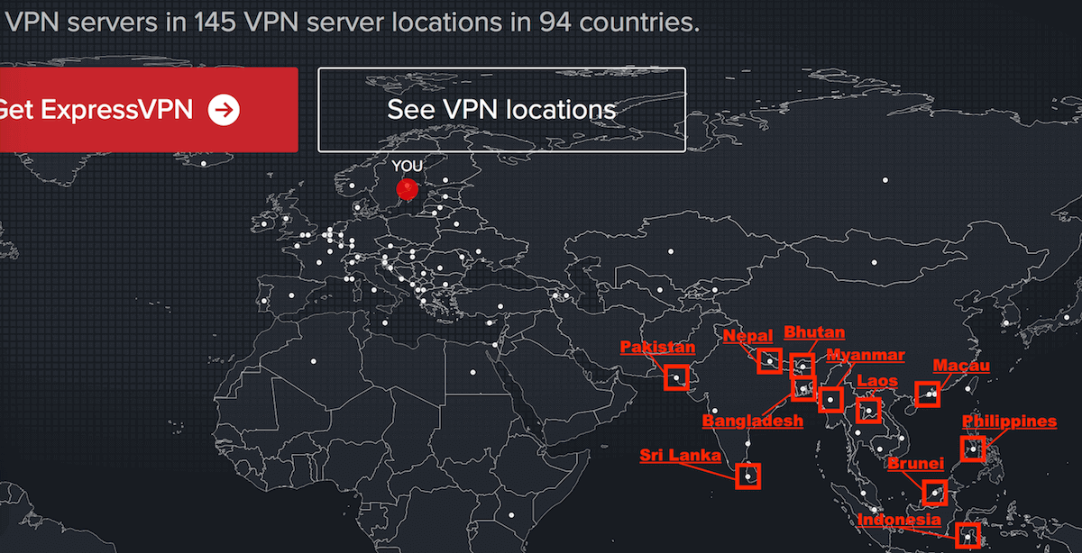 ExpressVPN server list